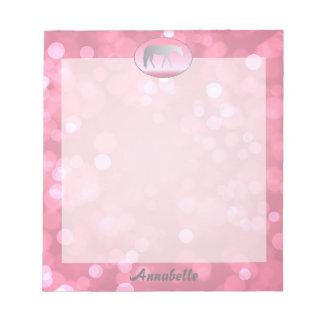Silver Western Pleasure Horse on Pink Brokeh Notepad