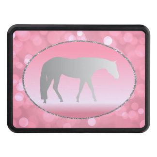 Silver Western Pleasure Horse on Pink Brokeh Trailer Hitch Cover