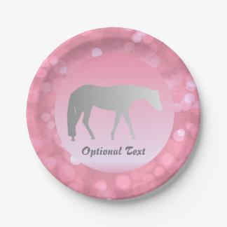 Silver Western Pleasure Horse on Pink Brokeh 7 Inch Paper Plate