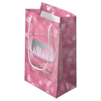 Silver Western Pleasure Horse on Pink Brokeh Small Gift Bag