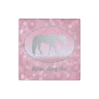 Silver Western Pleasure Horse on Pink Brokeh Stone Magnet