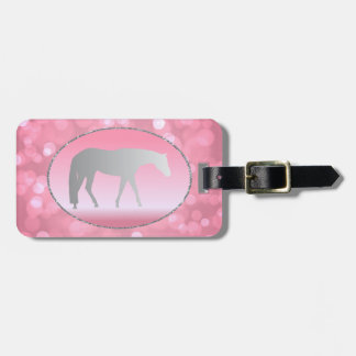 Silver Western Pleasure Horse on Pink Brokeh Tag For Bags