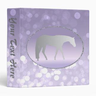 Silver Western Pleasure Horse on Purple Brokeh 3 Ring Binder