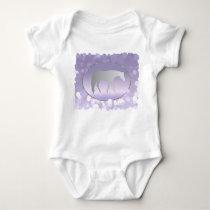 Silver Western Pleasure Horse on Purple Brokeh Baby Bodysuit