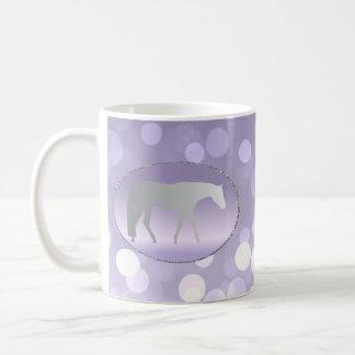 Silver Western Pleasure Horse on Purple Brokeh Coffee Mug