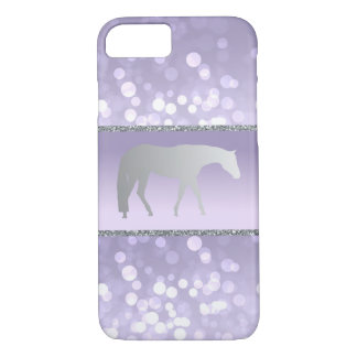Silver Western Pleasure Horse on Purple Brokeh iPhone 8/7 Case