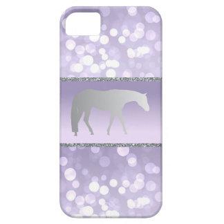 Silver Western Pleasure Horse on Purple Brokeh iPhone SE/5/5s Case