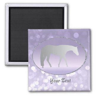 Silver Western Pleasure Horse on Purple Brokeh Fridge Magnets