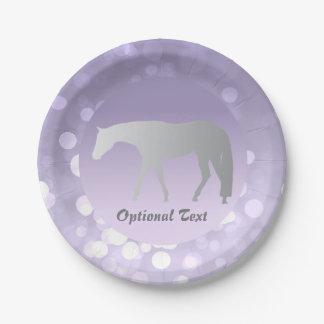Silver Western Pleasure Horse on Purple Brokeh 7 Inch Paper Plate