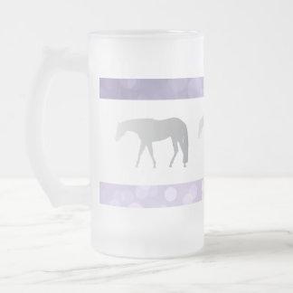 Silver Western Pleasure Horses on Purple Brokeh Frosted Glass Beer Mug