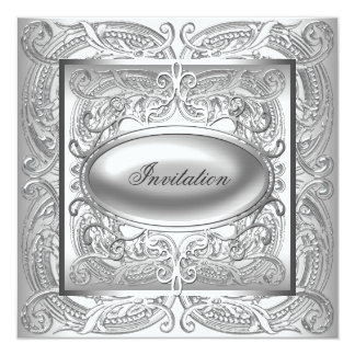 Silver White All Occasion Party Invitation