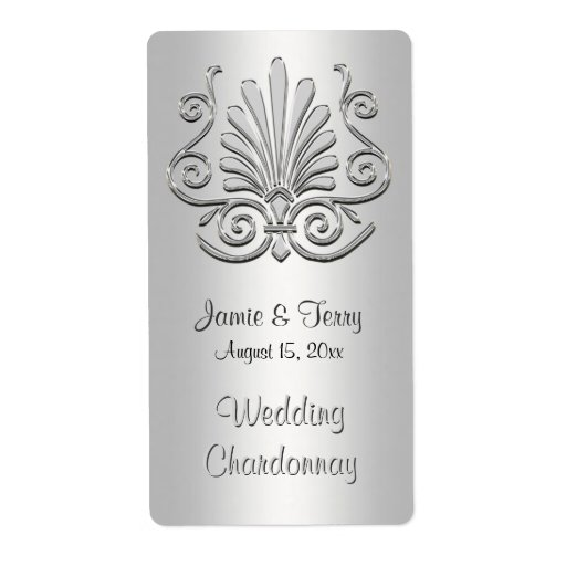 Silver White Art Deco Damask Party Wine Label 2