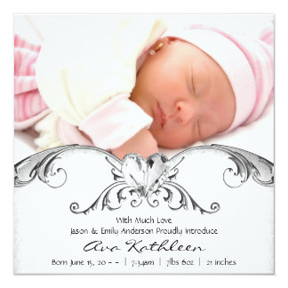 Silver White Baby Girl Photo Birth Announcement