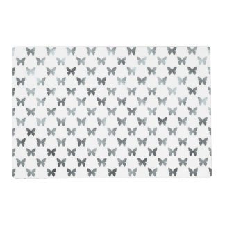 Silver White Butterfly Metallic Faux Foil Placemat