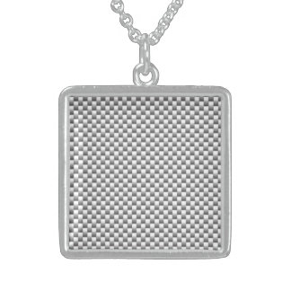 Silver White Carbon Fiber Print Sterling Silver Necklace