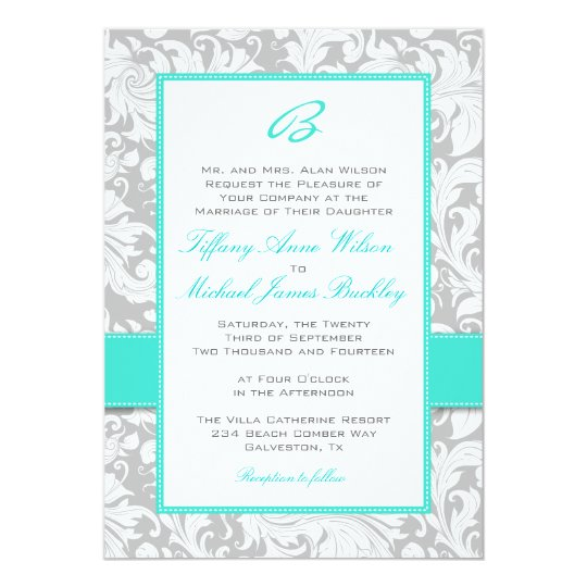 Silver white damask turquoise wedding invitation Zazzlecom