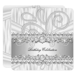 Silver White Diamonds Pearl Elegant Birthday Party Card