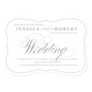 Silver & White Elegant Script Wedding Invitation