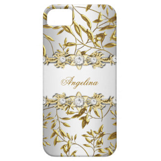Silver White Faux Gold Diamond Jewel Image iPhone SE/5/5s Case