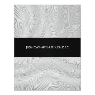 Silver White Faux Silk Fabric Abstract Birthday Pa Card