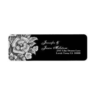 SILVER WHITE Flowers Black Background Address Label