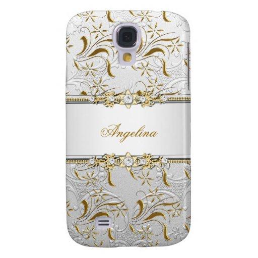 Silver White Gold Diamond Jewel Damask Samsung Galaxy S4 Covers