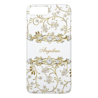 Silver White Gold Diamond Jewel Floral iPhone 8 Plus/7 Plus Case