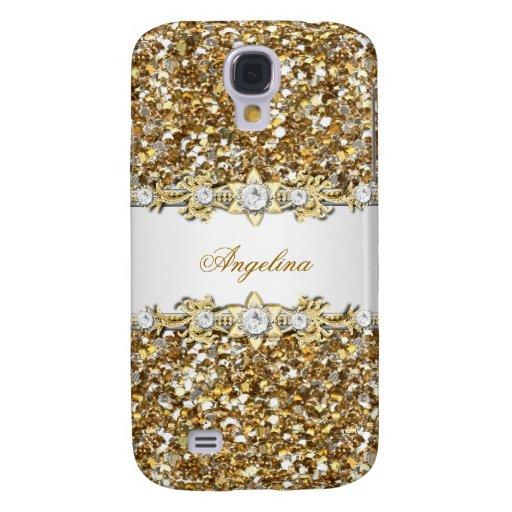 Silver White Gold Diamond Jewel Glitter Samsung Galaxy S4 Covers