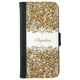 Silver White Gold Diamond Jewel Glitter iPhone 6/6s Wallet Case