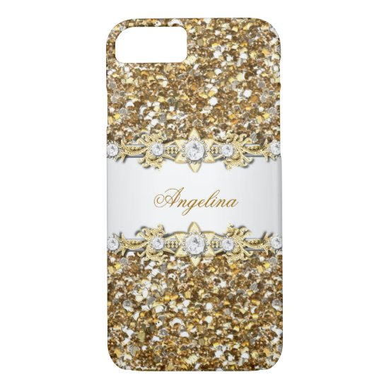 Silver White Gold Diamond Jewel Glitter iPhone 7 Case