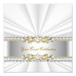 Silver White Gold Elegant Birthday Party 5.25x5.25 Square Paper Invitation Card