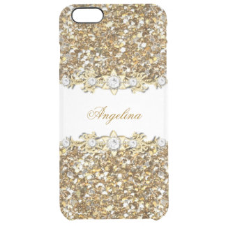 Silver White Gold Faux Diamond Jewel Glitter Clear iPhone 6 Plus Case