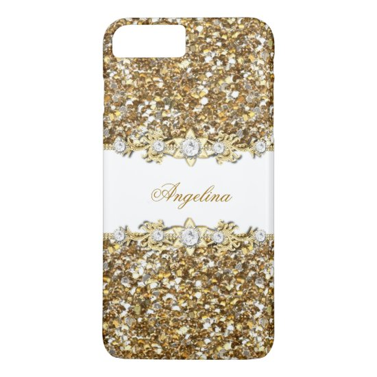 Silver White Gold Faux Diamond Jewel Glitter iPhone 7 Plus Case