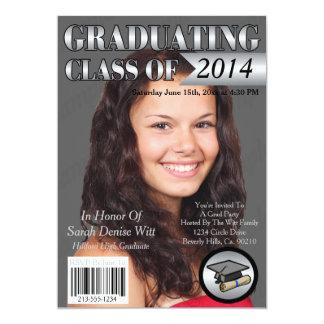 """Silver & White Graduating Class Magazine Cover 5"""" X 7"""" Invitation Card"""