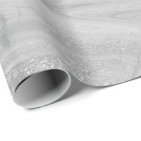 Silver White Gray Marble Molten Metallic Shiny Wrapping Paper