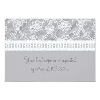 Silver White Lace Wedding RSVP Card Custom Invites