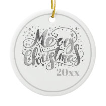 Silver White Merry Christmas Holiday Year Ceramic Ornament