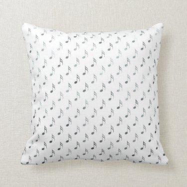 Silver White Musical Notes Metallic Faux Foil Throw Pillow