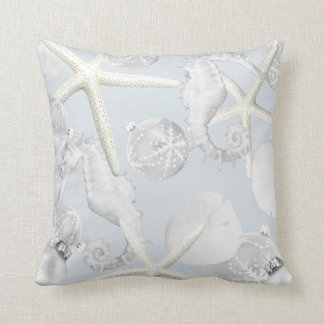 Silver White Nautical Tropical Christmas Pillow