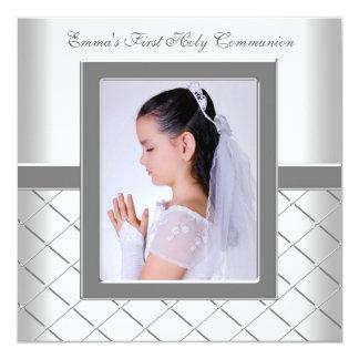 Silver White Photo Girls 1st Communion Card