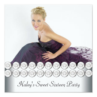 Silver White Photo Sweet 16 Birthday Party Card