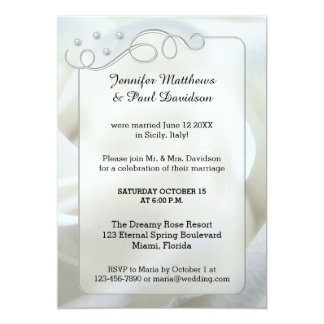 Silver White Rose Post Wedding Party Invitation