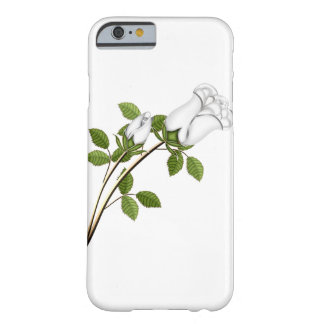 Silver White Roses Stem Leaves Green Floral Flower Barely There iPhone 6 Case