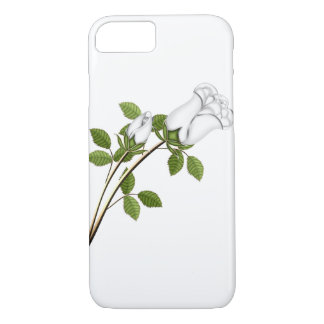 Silver White Roses Stem Leaves Green Floral Flower iPhone 8/7 Case