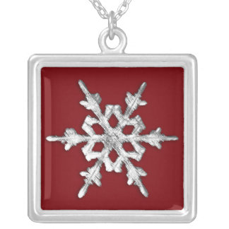 Silver & white snowflake on deep red silver plated necklace