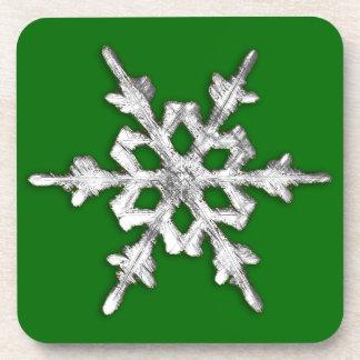 Silver & white snowflake on pine green beverage coaster