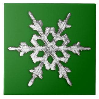 Silver & white snowflake on pine green ceramic tile