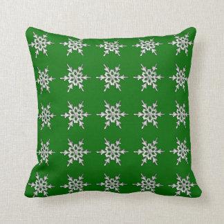 Silver & white snowflake on pine green throw pillow