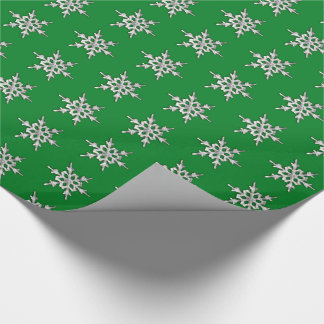 Silver & white snowflake on pine green wrapping paper