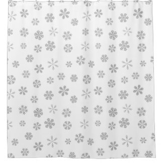 Silver White Snowflake Pattern Shower Curtain